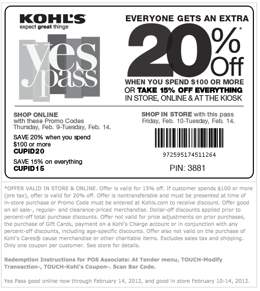 Kohl's Love to Save Sale – Yes Pass Coupon for 20% or 15% OFF