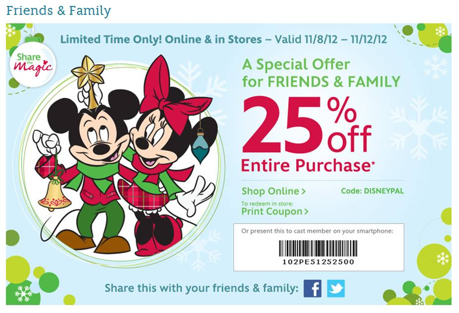 25% Off at Disney Stores. Ends 11/12/12