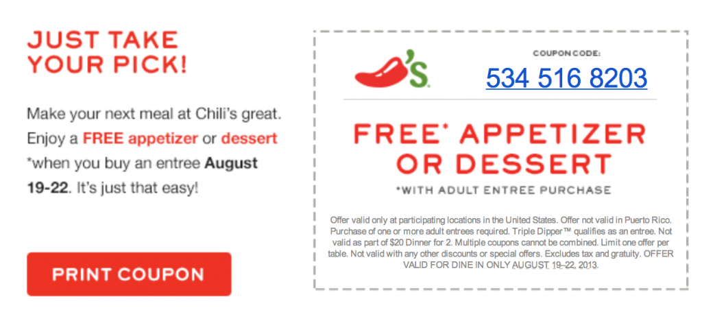 Coupon: Chilis Free Appetizer or Dessert through Aug 22nd
