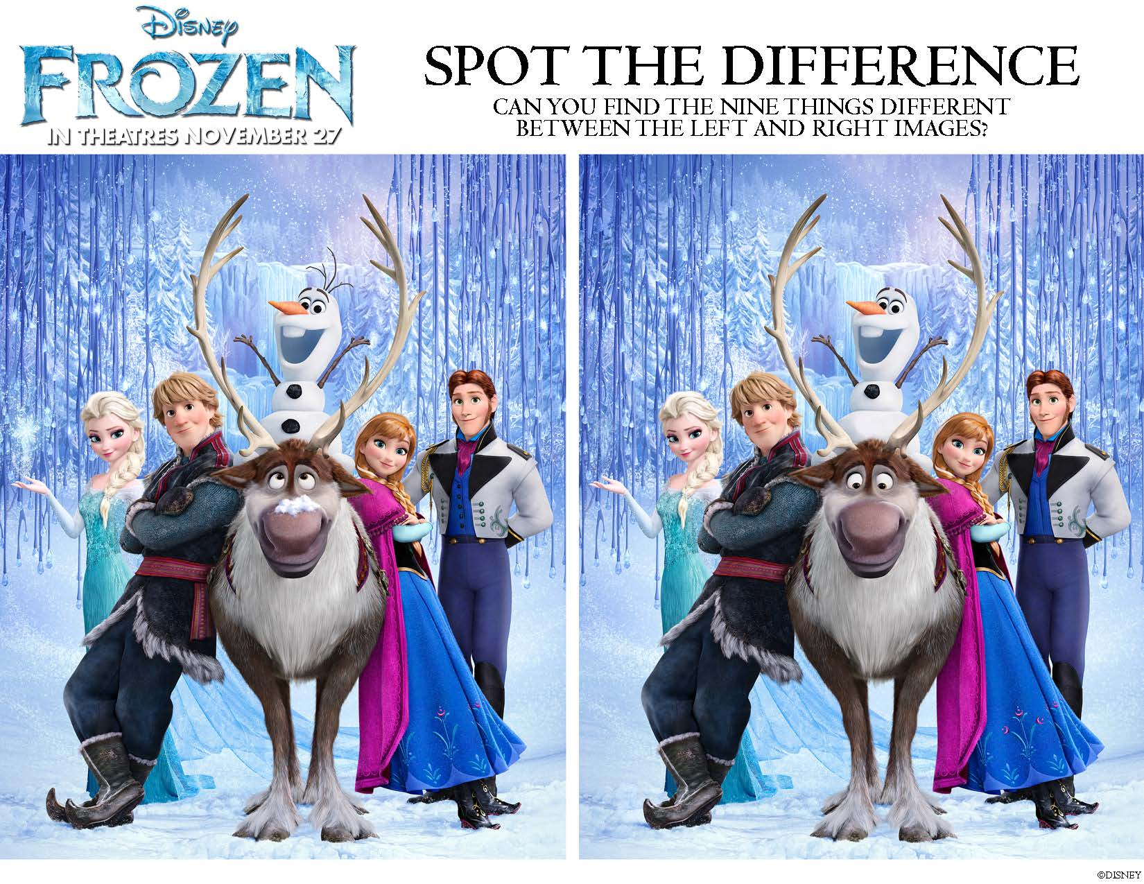 Disneys Frozen Can You Spot The Difference Coloring Page
