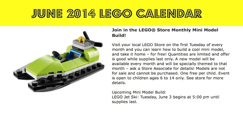 June 2014 Lego Calendar Events: June 3, 2014 Free Mini build