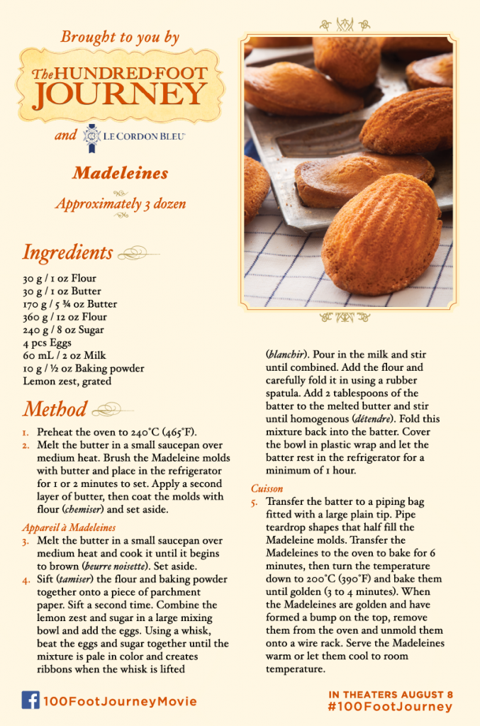 Madeleines Recipe from the movie 100 Foot Journey