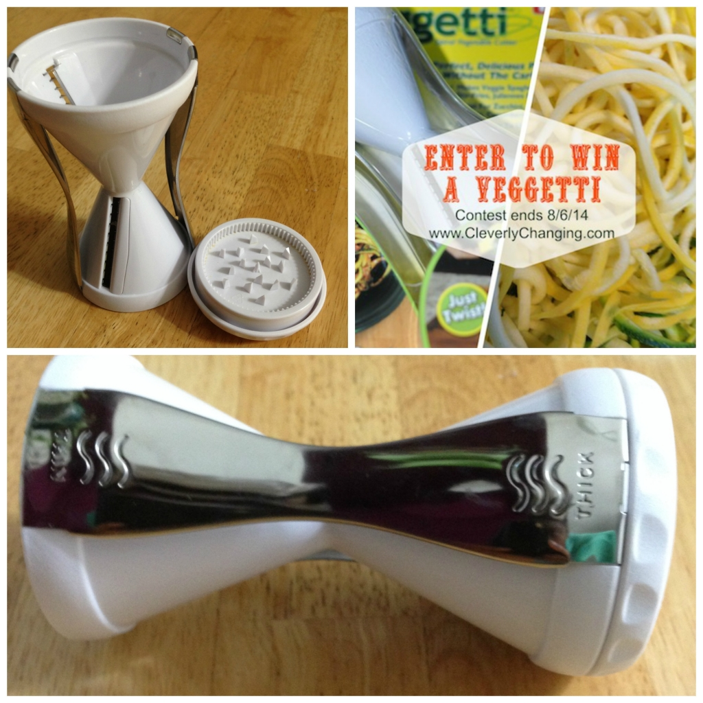 Veggetti (Vegetable Spiral Cutter) Contest - ends August 6, 2014 visit CleverlyChanging.com for more details
