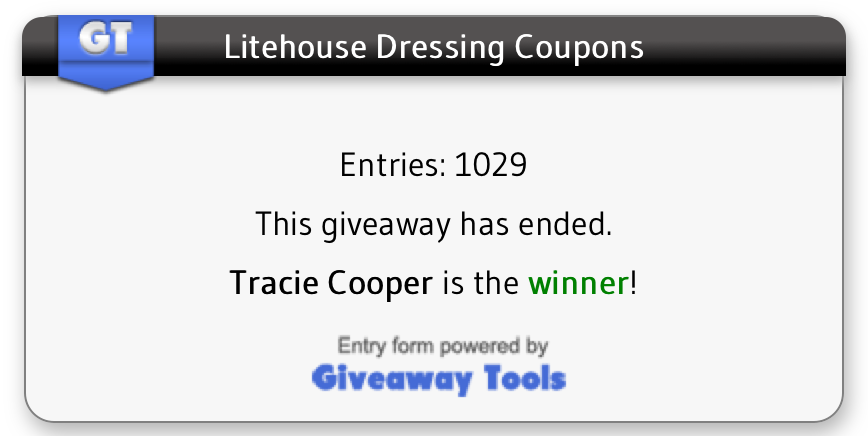 Litehouse Coupons Giveaway Winner