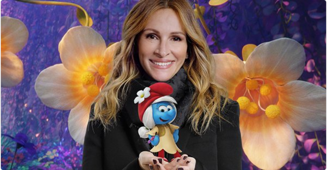 Julia Roberts in Smurfs The Lost Village. Enter to win smurfs swag
