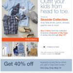Buy 3 kids Seaside Collection items now through 5/15 & get a free pair of flip flops at Gap Kids