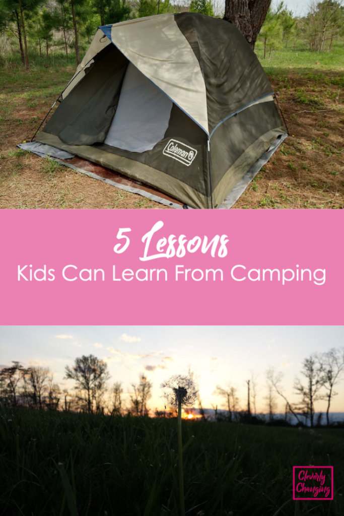 There are many lessons kids can learn from camping such as communication skills, teamwork, nature appreciation, survival skills and more.