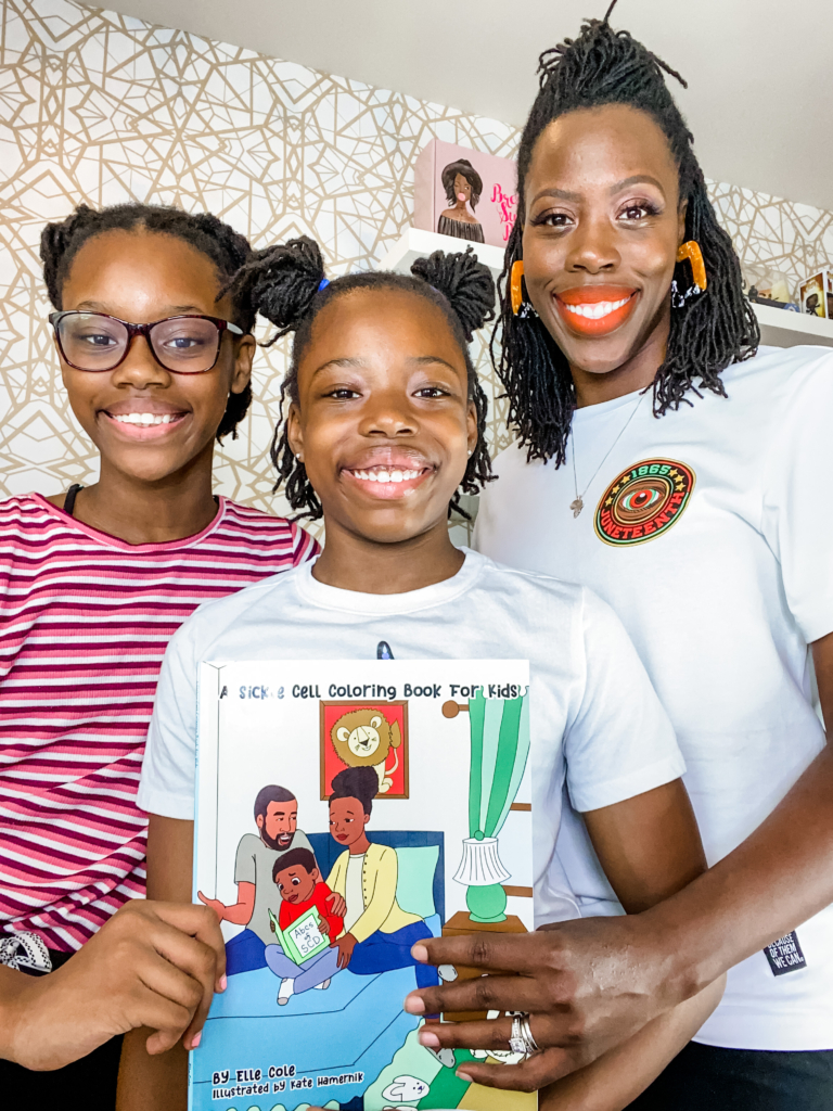 MomsNCharge, LivyBelleSews, and BrielleFlips on IG Holding A Sickle Cell Coloring Book for Kids